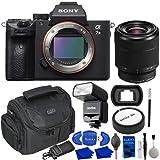 Sony a7 III Mirrorless Digital Camera Bundle with 28-70mm Lens, GODOX Camera Flash, Water Resistant Gadget Bag, Eyecup, Rear Lens Cap, Card Reader + More | Sony Alpha 7 III Full-Frame Sensor Camera