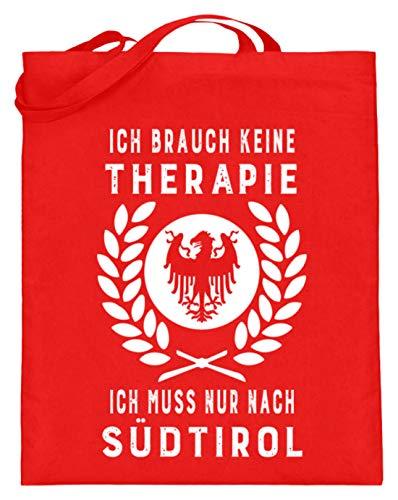 ALBASPIRIT Ich Muss Nur Nach Südtirol Wappen Flagge Österreich Italien Dolomiten Südtiroler Geschenk - Jutebeutel (mit langen Henkeln) -38cm-42cm-Rubinrot