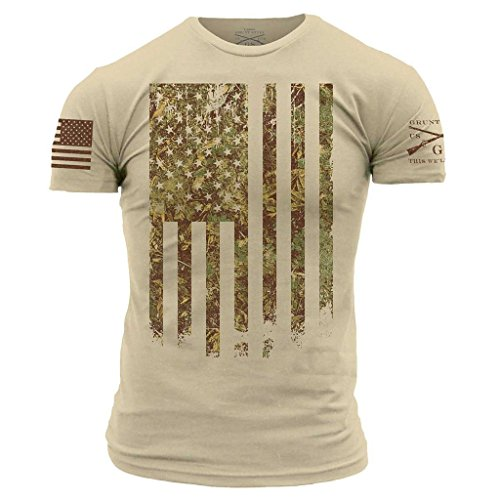 Grunt Style Men's Outdoors Camo Flag T-Shirt, Color Woodland, Size Small