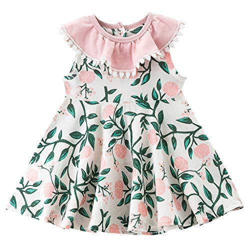 Janly Clearance - Vestido de niña para niñas de 0 a 10 años, con borlas sin mangas, para niños de 2 a 3 años, color rosa