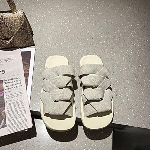 ypyrhh Chanclas para hombre de verano, zapatillas, tejidas playa-creamy-white_37, zapatos de playa ducha gimnasio chanclas