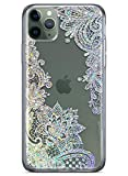 Coolwee Clear Glitter iPhone 11 Pro Max Case Thin Flower Slim Cute Crystal Lace Bling Women Girls Floral Plastic Hard Back Soft TPU Bumper Protective Cover for Apple iPhone 11 Pro Max Mandala Henna