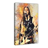 James Alan Hetfield Waterc Guitarristas Lienzo Póster de pared Decoración Cuadro Cuadro para Sala Dormitorio Decoración Marco: 50 × 75 cm