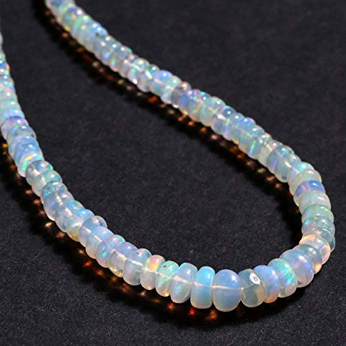 Natürliche äthiopische Opal Feuer Opal Edelstein Halskette 3-5MM Perlen Halskette 925 Sterling Silber Glatte Rondelle Feuer Opal Edelstein Halskette Opal Halskette für Frauen 45 CM
