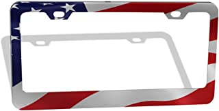 DZGlobal United States Patriotic Flag Pattern License Plate Frame,Car Licenses Plates Covers Waterproof License Tag Aluminum Metal Frames 2 Holes and Screws