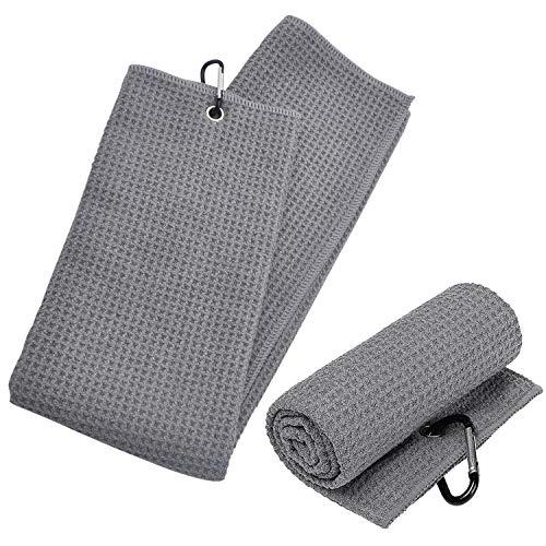 BEIFON 2 Stücke Tri-Fold Golf Handtuch Mikrofaser Sporthandtuch Golfhandtücher Einhängeöse Golf Towel Tuch Grau für Fitness Sport Outdoor Yoga Golf Laufen Fahrrad (40x60cm)