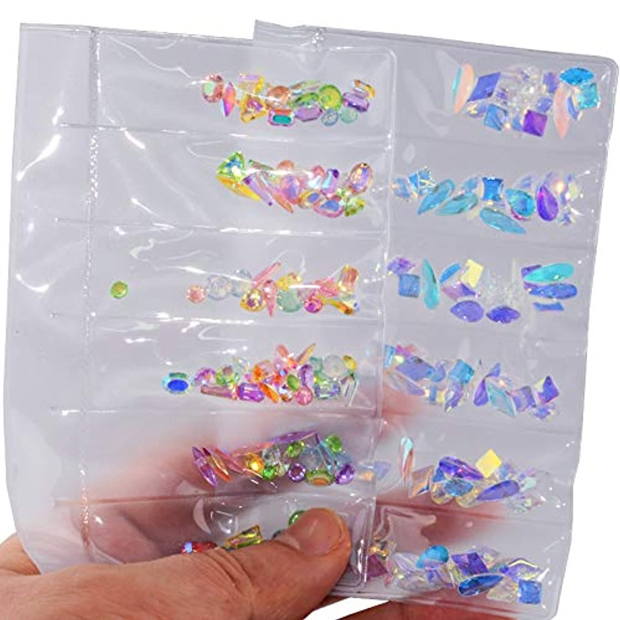 重荷神経障害想像力2パックセットネイルアートラインストーンネイルアートデコレーションフラットバックガラスダイヤモンドティアドロップ馬の目の水晶石