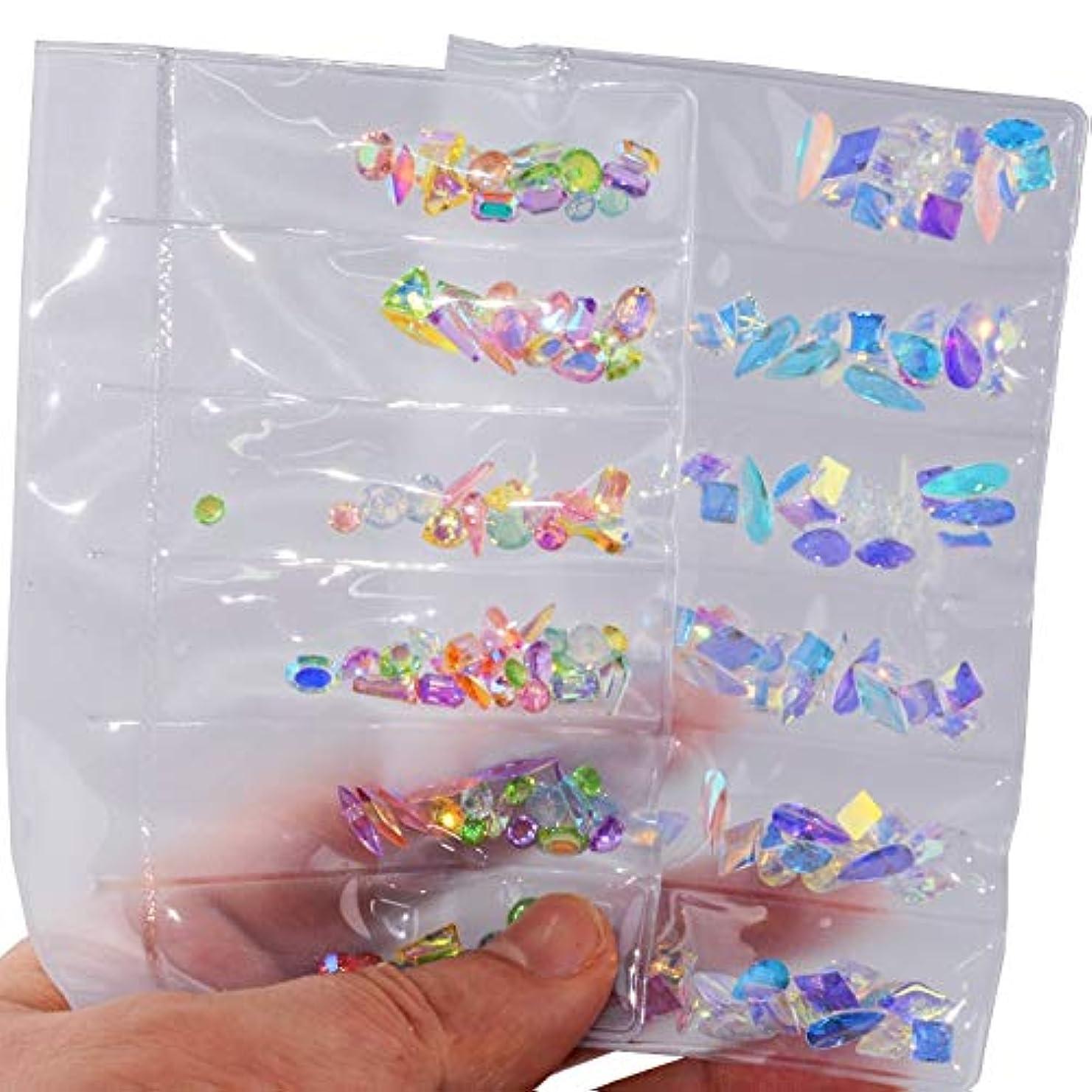 魅了する純粋な工夫する2パックセットネイルアートラインストーンネイルアートデコレーションフラットバックガラスダイヤモンドティアドロップ馬の目の水晶石