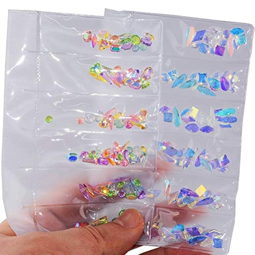 2パックセットネイルアートラインストーンネイルアートデコレーションフラットバックガラスダイヤモンドティアドロップ馬の目の水晶石