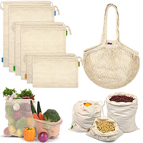 Reusable Produce Bags, Organic Mesh Bags Muslin Bags with Drawstring Bonus Reusable Grocery Bag for Shopping & Storage, Washable, Biodegradable, Food Safe, Tare Weight on Color Tag(7 Pack)