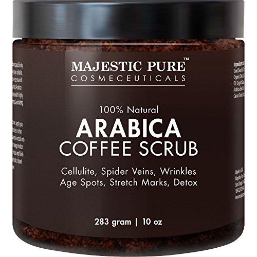 Majestic Pure Scrub per il corpo al caffè, 340 g,trattamento per la cura della pelle 100% Naturale, aiuta a ridurre la cellulite, smagliature, acne, eczema, macchie dell'età e vene varicose, detox naturale per la Pelle