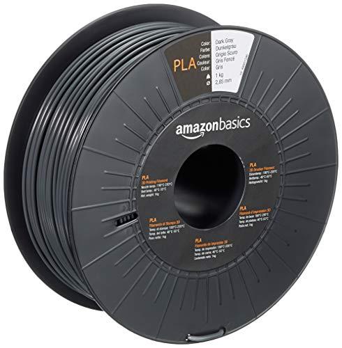Amazon Basics - Filamento para impresora 3D, ácido poliláctico (PLA), 2.85 mm, cinta de 1 kg, gris oscuro