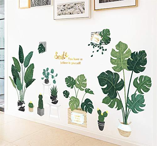 Martin Kench Wandtattoo Wandsticker Groß Grüne Pflanze Wandaufkleber Blätter Wanddeko für Wohnzimmer Schlafzimmer TV Hintergrund (Stil B)