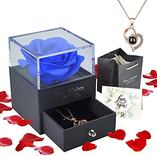 Floridliving Rosa eterna Regalos, Rosa eterna Hecha a Mano con Colgante Mujer de Amor en 100 Idiomas Caja, Regalos de Rosas para Siempre para Ella en cumpleaños, Aniversario, día de la Madre (Azul)