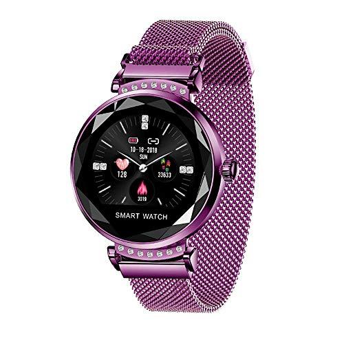 Mygsn Watch Fitness Tracker, Smart Armband Herzfrequenzerkennung IP67 wasserdichte weibliche physiologische Erinnerung Magnetband Ultra-Thin Smart Armband Watch (Farbe : Lila)