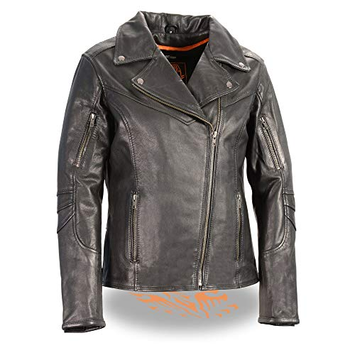 Milwaukee Leather MLL2581 Women's Black Leather Lightweight Long Length Vented Jacket - Large