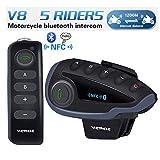 Set interfono con Auricolari Bluetooth per Casco, comandi al Manubrio, radio FM, NFC, 1200m, 5motociclisti, funzione vivavoce