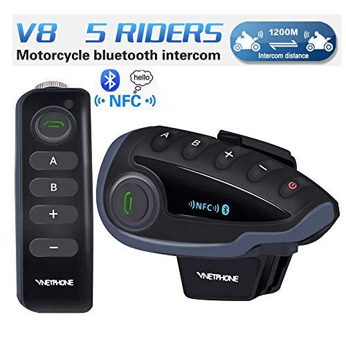 V8 1pcs Auriculares Intercomunicador Bluetooth de Casco de Motocicleta Moto Intercom Headset - Auriculares remoto manillar, Radio FM NFC 1200m - Full Duplex Bluetooth manos libres Impermeable