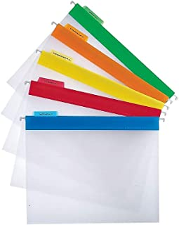 Staples 516608 Poly Hanging File Folders Letter Size Clear with Assorted Tabs 25/Bx