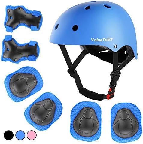 ValueTalks Kids Helmet Pad Set Adjustable Kids Bike Helmet and Knee Pads Elbow Pads Wrist Guards product image