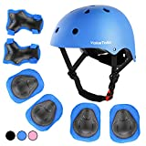 ValueTalks Kids Adjustable Helmet Set, Protective Gear Set Safety Knee&Elbow Pads and Wrist Guards for Toddler Boys Girls Bike, Bicycle, Skateboard, Scooter(3~10Years Old)