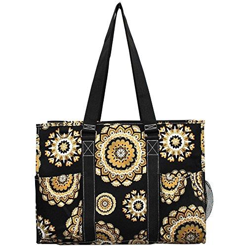 NGIL All Purpose Organizer 18' Large Utility Tote Bag 2018 Spring Collection (Mandala Dream Black)