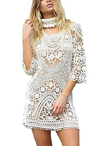 heekpek Pareo Playa Mujer Encaje De Crochet Vestido De Playa Bikini Cover Up Pareos Traje De Baño Cubrir Elegante Boho