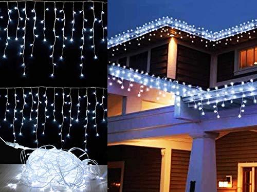 Cascata 200 Leds 5m 110v Branca Fria Decoração Natal