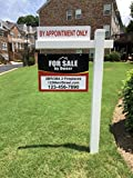 Red Deluxe 7-Pack for Sale by Owner Sign Bundle with Real Estate Post & Stakes - Open House & FSBO with Directional Arrows - Personalized Rider Sign for Yard Post - Double-Sided Lawn Signs