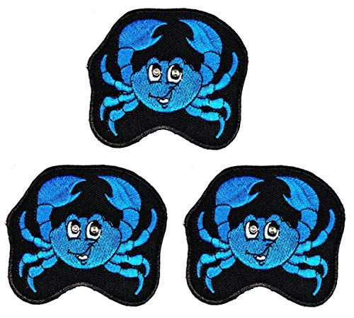 Umama Patch Set of 3 Cute Blue Crab Sea Animals Cartoon Sticker Patches Crab DIY Applique Embroidered Sew Iron on Patch Emblem Clothing or Reward Gift