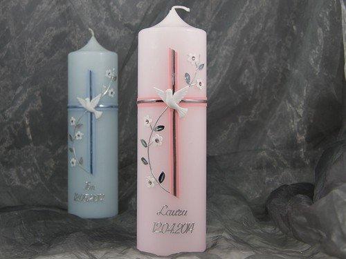 Taufkerze Kerze Taufe Kommunionkerze Junge Mädchen rosa blau 25/7 cm 16549, Farbe:rosa