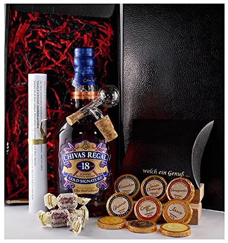 Geschenk Chivas Regal 18 Jahre scotch Whisky + Glaskugelportionierer + Edelschokolade + Fudge