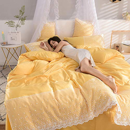 Complete Bedding Sets,Washed silk four-piece summer bedding princess style summer cool ice silk sheets quilt cover silky naked sleep-Bright yellow 1_1.8m (6 feet) bed