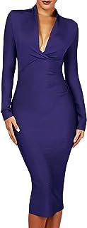 UONBOX Women's Deep Plunge V Neck Long Sleeves Draped Knee Length Bodycon Bandage Dress