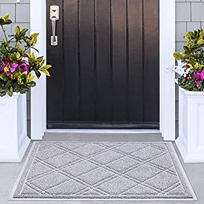 Delxo 42x35 inch Entrance Doormat No Odor Durable Anti-Slip Rubber Back Front Doormat with Shoes Scraper for Scraping Mud, Snow, Sand in High Traffic Areas