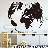 ASFGA Mapa del Mundo brújula Tierra Etiqueta de la Pared Oficina Aula Viajes Global exploración Aventura Pared Graffiti calcomanía única decoración de Vinilo habitación para niños 85X69 cm