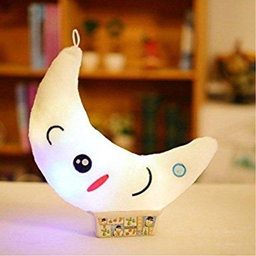LED Lune oreiller coussin de lit en peluche doux oreiller mignon jouet de noël arbre décoration (Blanc)