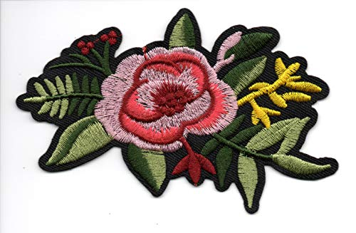 Patch Rose Red Great Size Love Flower Women Dress Shirt Skirt Purse Fashion Cloth Art Pant Girl Child Color Teen Mend Restore Vest Polo Jacket T-shirt Logo Embroidered Applique Iron On Sew On Bestdeal