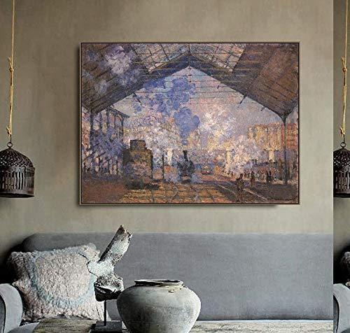 Cartel de Monet y pintura al óleo lienzo pintura caligrafía mural imagen de la estación Saint Lazare sala de estar dormitorio hogar sin marco pintura decorativa en lienzo O25 40x60cm