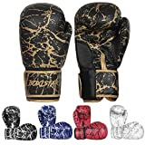 Boxing Training Sparring Kickboxing Punching Heavy Bag Muay Thai Mitts MMA Gloves for Youth, Men & Women (Black/Gold, 14 oz)