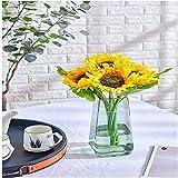 YYHMKB Ramo de Flores Artificiales de Girasoles de Primavera, 7 Cabezas a Granel con Tallos para Bodas, Fiestas, decoración del hogar, Idea de Regalo para el día de la Madre con Girasol