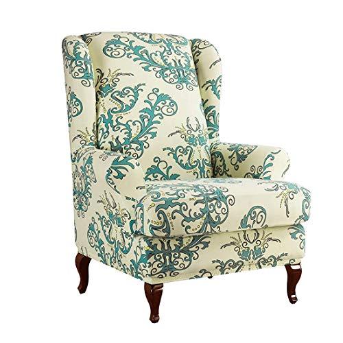 Jubang Ohrensessel Schonbezug, Elastisch Ohrensessel Husse mit Muster Blumen, Sesselbezug Sofaüberwurf Stretch Husse, Schutzhülle für Ohrenbackensessel Grün