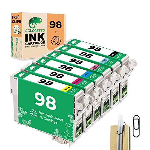 COLORETTO Remanufactured Ink Cartridge Replacement for Epson 98 T098 Used for Artisan 730 810 837 (1 Black,1 Cyan 1,Magenta,1 Yellow,1 Light Cyan,1 Light Magenta) (Special Edition Includes 1 Pen Clip)