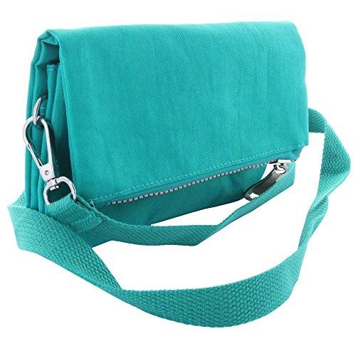 Praktische Damen Umhängetasche/Handtasche mit Schultergurt und Handschlaufe im Miniformat für Hobby und Freizeit - Tasche türkis