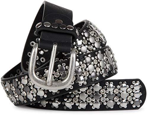 styleBREAKER cinturón de remaches elegante en diseño vintage, remaches y estrás, reducible, señora 03010052, tamaño:100cm, color:Negro (Ropa)