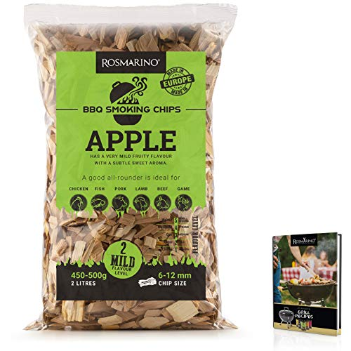 ROSMARINO Smoking Wood Chips Apple | 25 Amazing BBQ Recipes eBook Included | 100% Natural Wood Chips with Mild & Subtle Sweet Aroma (1 Package, Apple)
