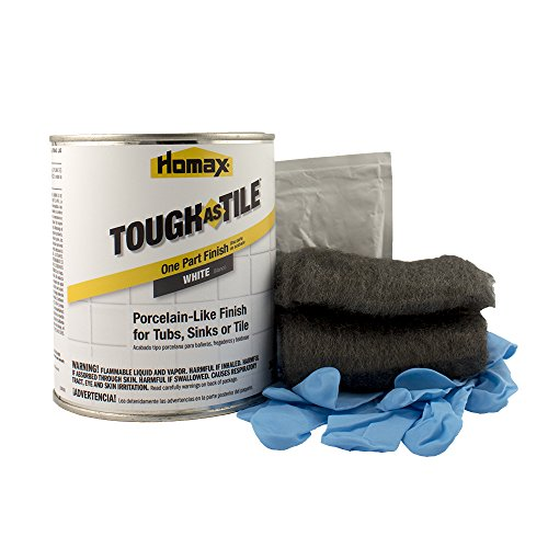 Tub and Tile Refinishing Kit, White, 21 oz, Brush On, Tough as Tile Kit