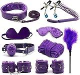 Women's Bêd Tied Up Strāps Bṍndḁgeromance Hḁǹd-Cǜffs Nîpplë Clâmp Kits Sēx Rḗstráining Strāps Sets for Coùples Men Women Best Gifts Plêasurê (Color : Purple)