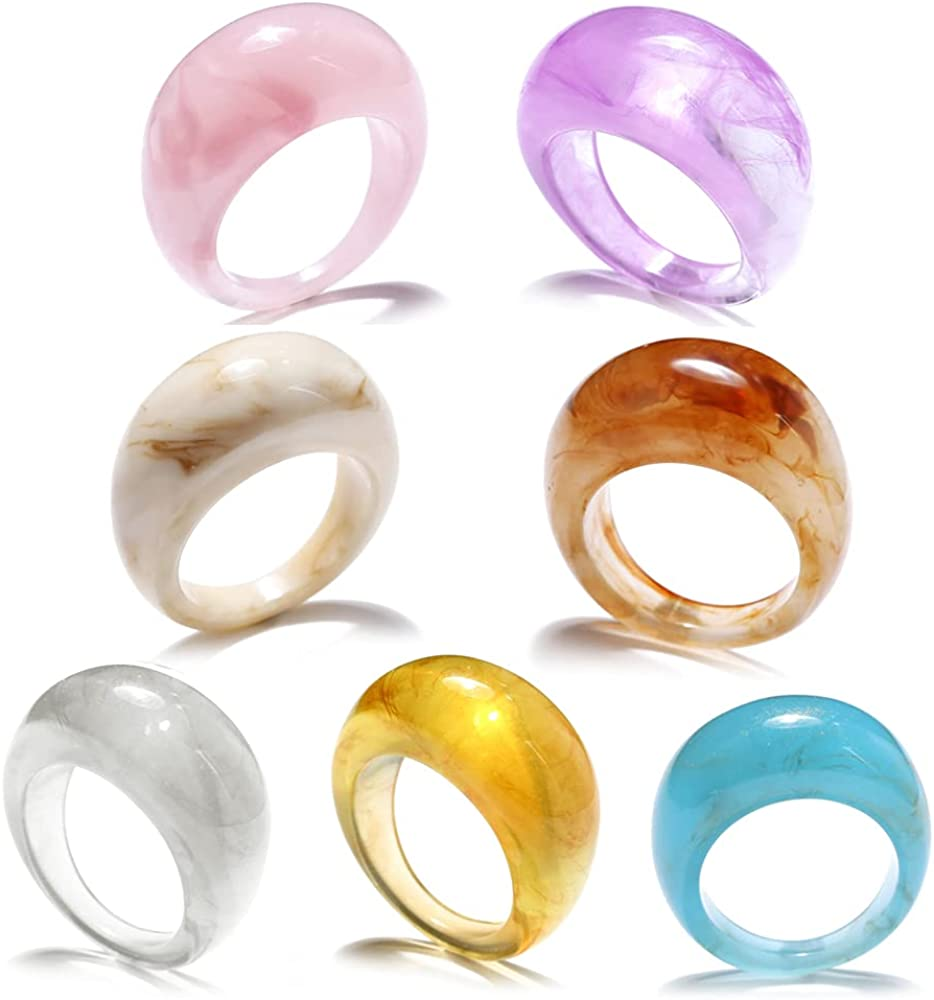 Retro Teardrop Statement Acrylic Resin Rings Vintage Oval Dome Chunky Thick Colorful Handmade Transparent Band Rings Plastic Stackable Knuckle Rings for Wife Girlfriend Bff Birthday 7 Pcs Set