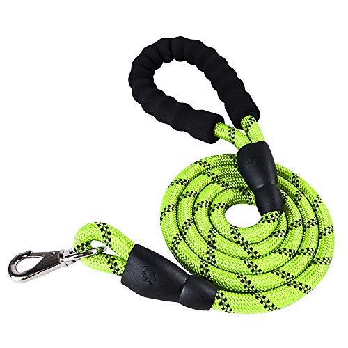 Galapara hondenriem van nylon, 1,5 m reflecterende hondenlijn, beste nylon gevlochten touw met comfortabel gevoerde handgreep nacht veiligheid trekkoord training walking leash pet supplies